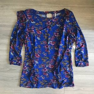 Free People Floral Ruffle Front Sweater in Blue